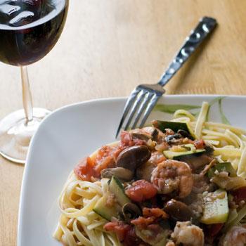 Shrimp Linguine with Mushrooms & Garlic