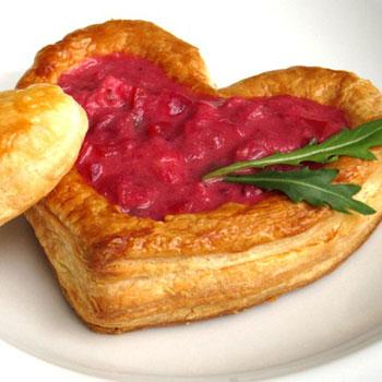 Fudge Pastry & Berry Hearts