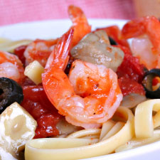 Shrimp and Mushroom Fettuccine